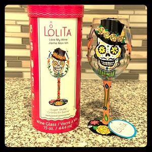 NWT LOLITA Sugar Skull Wine Glass